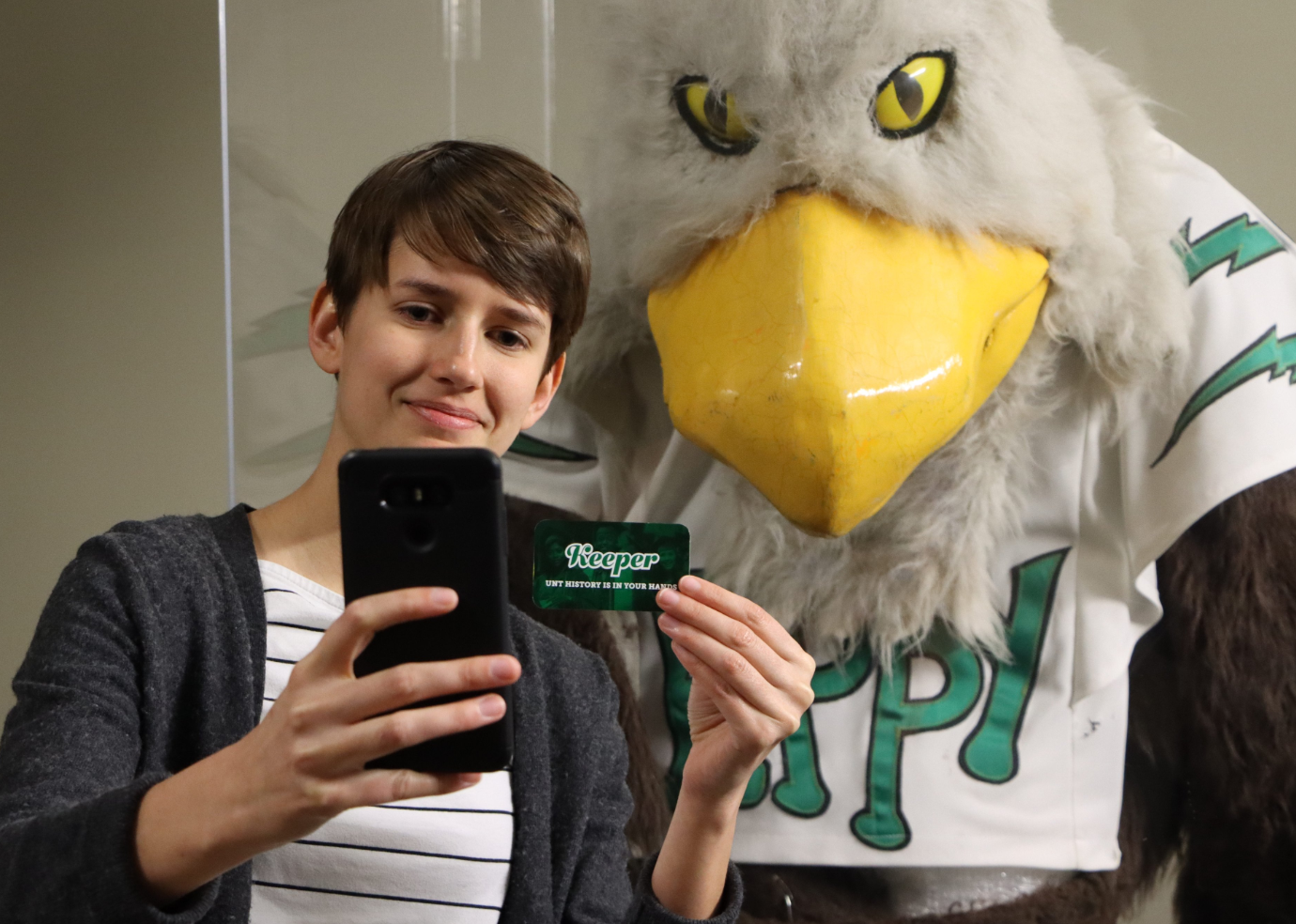 Rachael Zipperer pictured with UNT's Eppy mascot